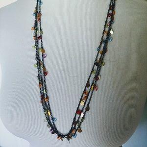 Vintage 3 Strand Multi Colored Necklace